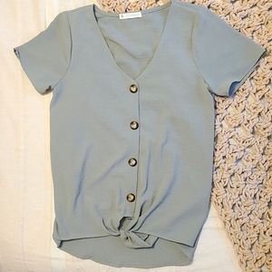 Maternity Tie-Waist Blouse - Muted Green
